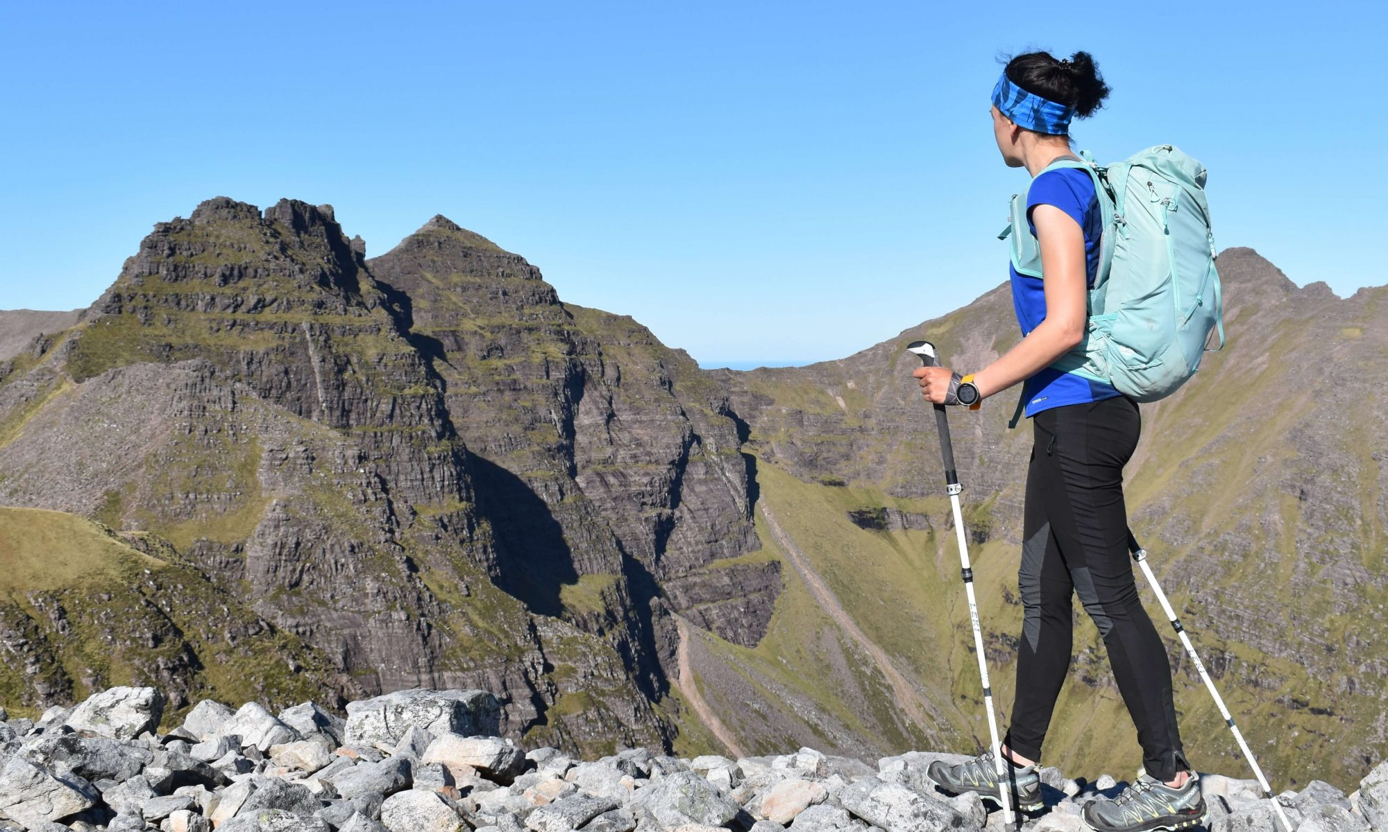 Full length shot of Adventurer Nic looking across to the pinnacles of An Teallach in North West Scotland