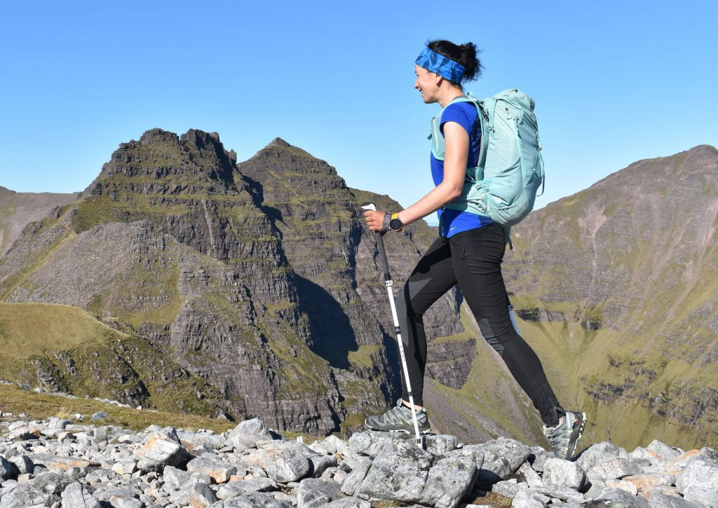 Adventurer Nic en route to Sgurr Fiona - a Munro summit of An Teallach in the north west Scottish highlands