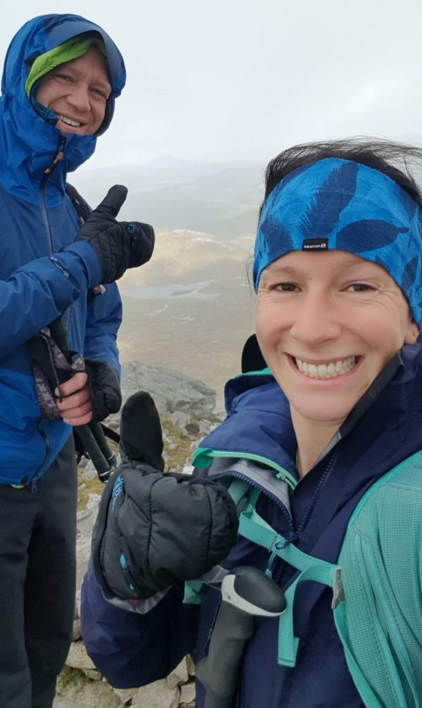 Thumbs up from Adventurer Nic, a selfie with James on the summit of Ben More Assynt