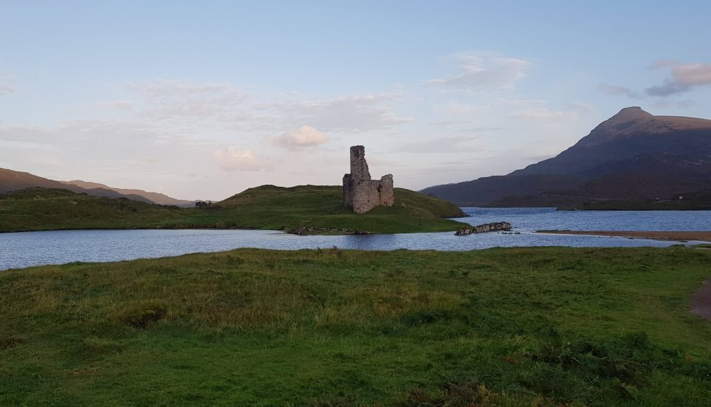 View of Ardvreck Castle from the shores of Loch Assynt and our camp spot