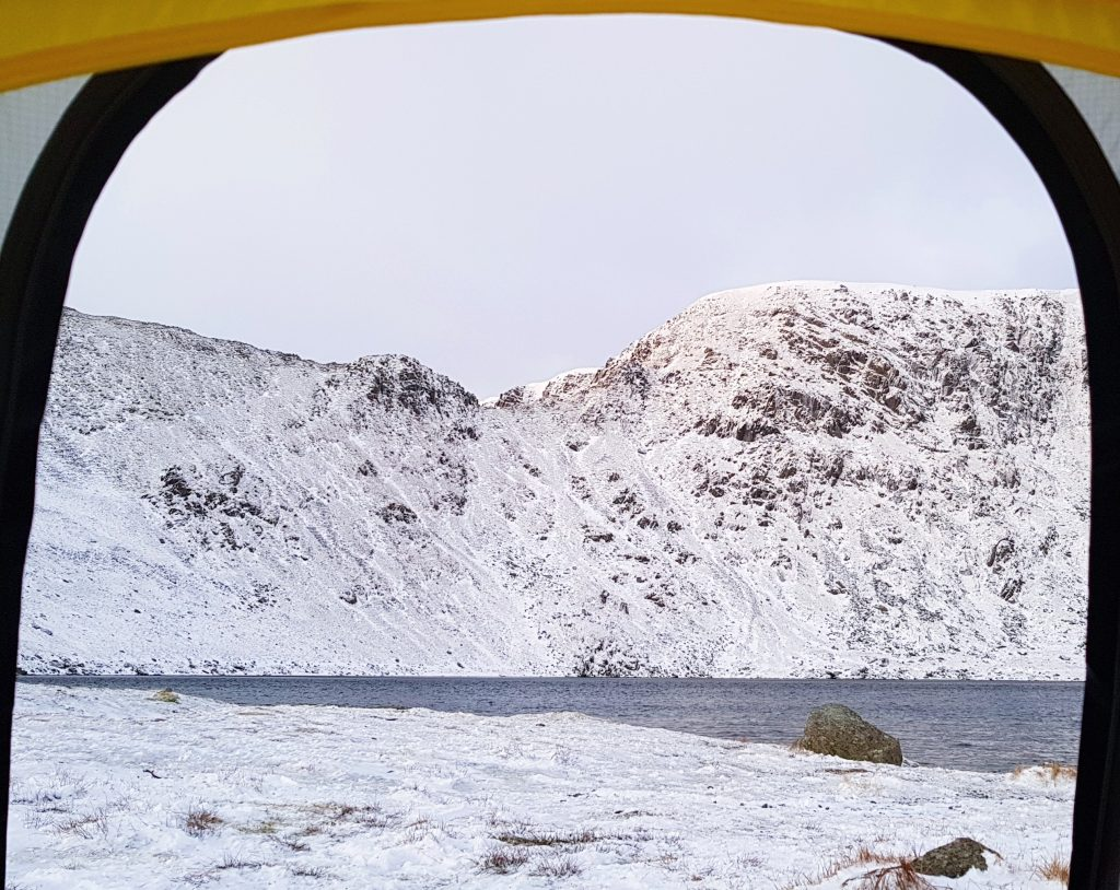 View from Adventurer Nic's tent at Red Tarn, Helvellyn on a winters morning