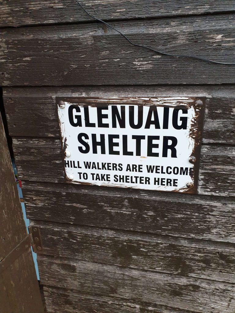 Glenuaig Bothy Shelter Sign