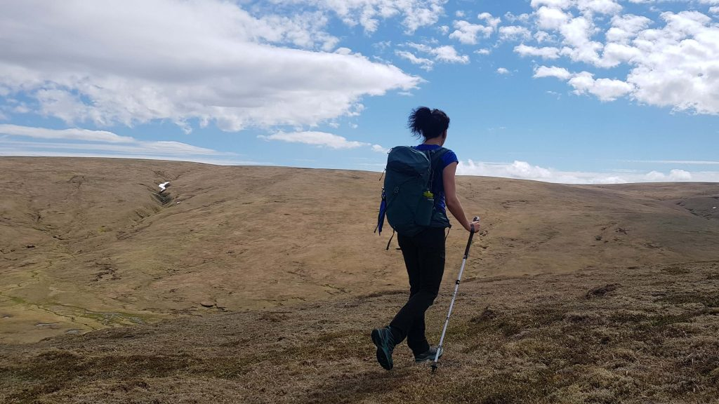Adventurer Nic hiking towards A' Bhuidheanach Bheag - the first of our east Drumochter Munros