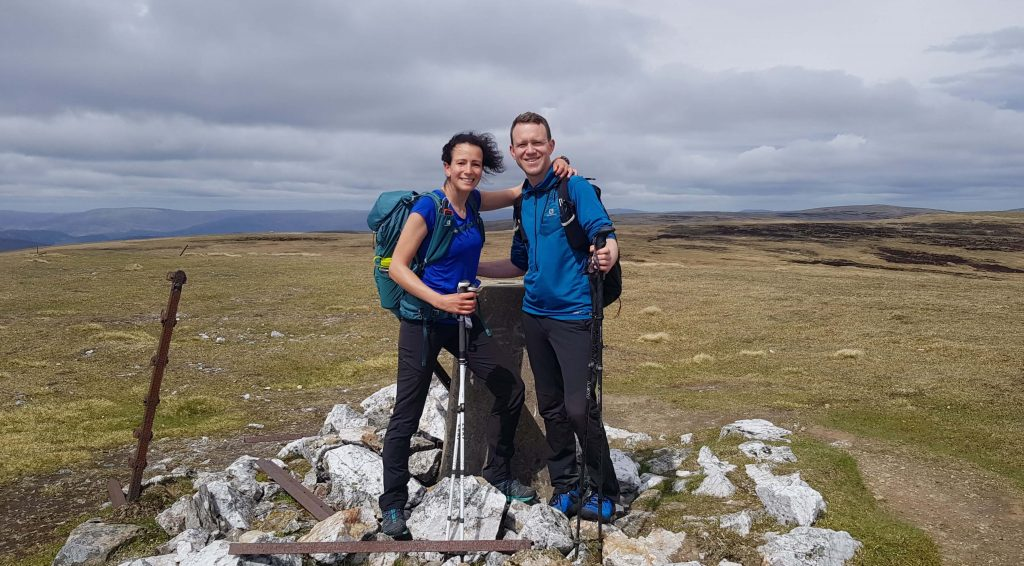 Adventurer Nic and James Forrest on the summit of A' Bhuidheanach Bheag, the first of the East Drumochter Munros