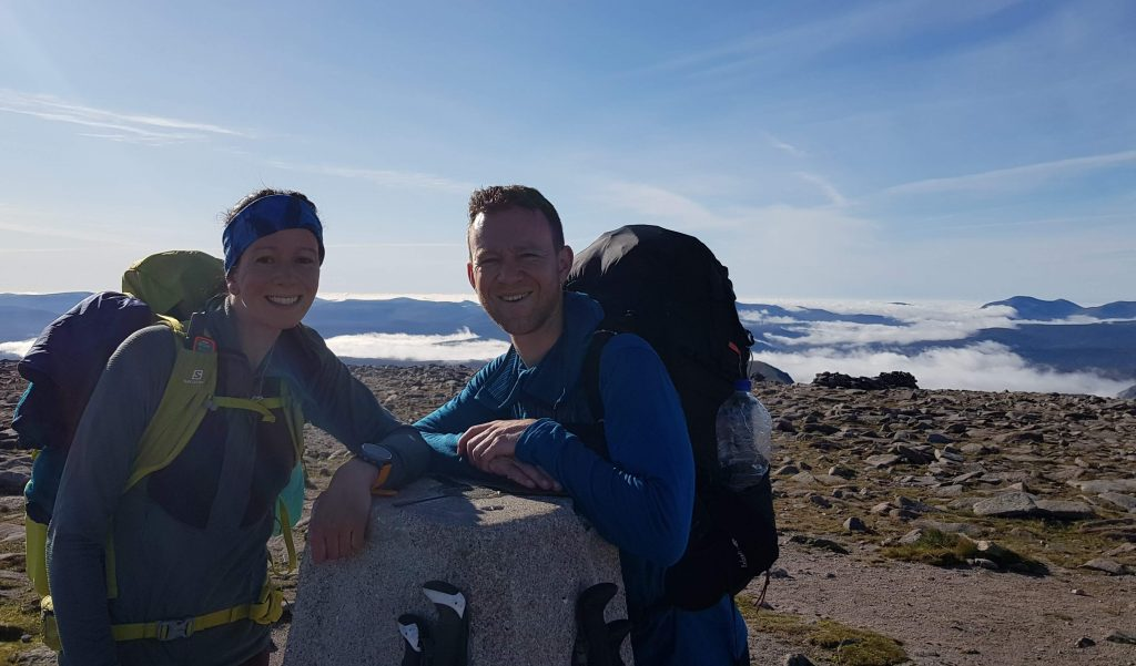 Adventurer Nic and James Forrest on the summit of Ben Macdui, Scotland's second highest mountain