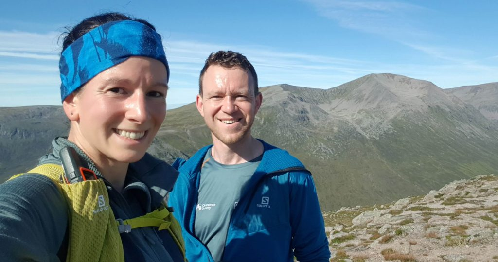 Adventurer Nic and James Forrest on the summit of Carn a' Mhaim in the Cairngorms