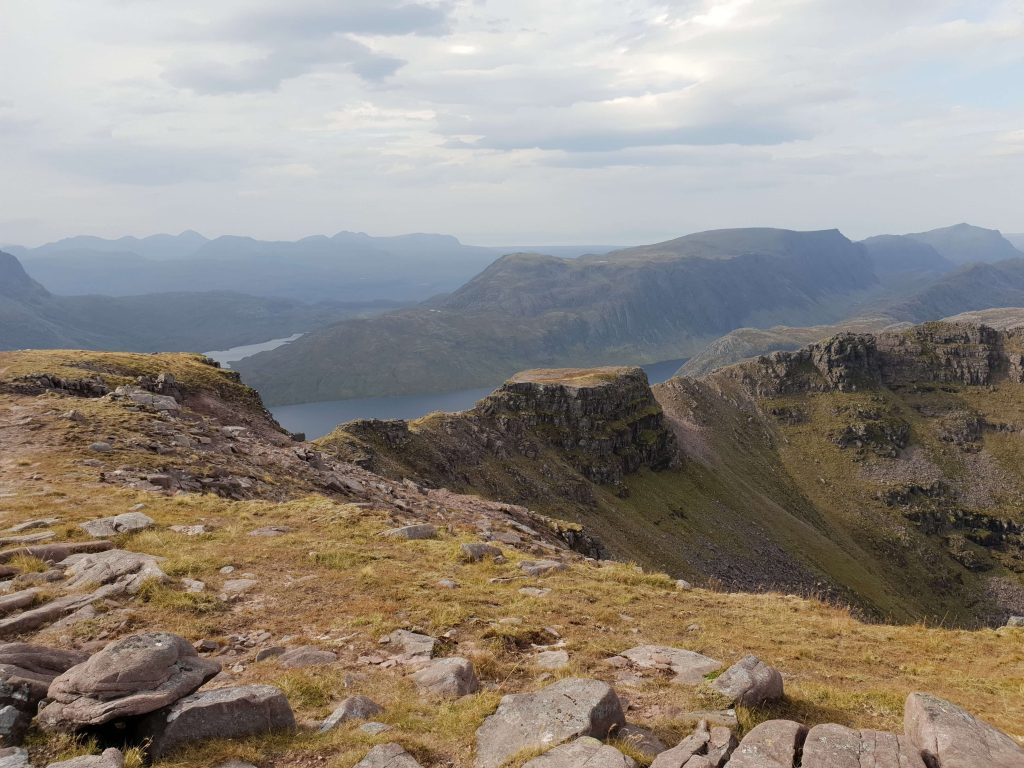 View from Beinn Tarsuinn of the Tennis Court shaped rock part way along the ridge