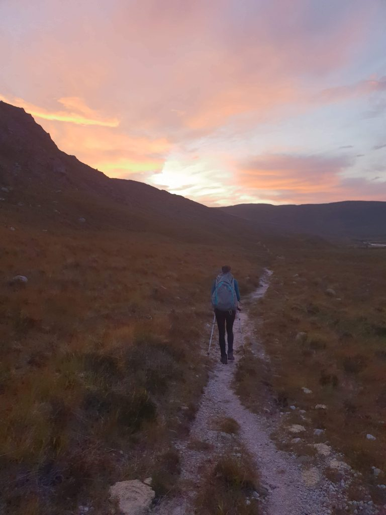 Adventurer Nic set off hiking at sunrise towards the Fisherfield Munros
