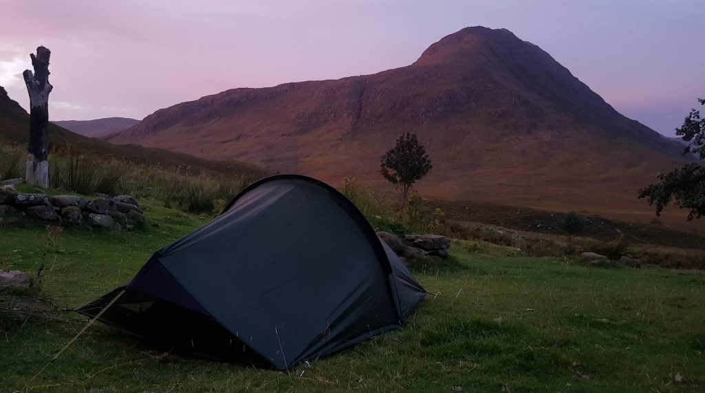 Terra Nova Laser Compact 2 tent beside Shenavall bothy at sunrise