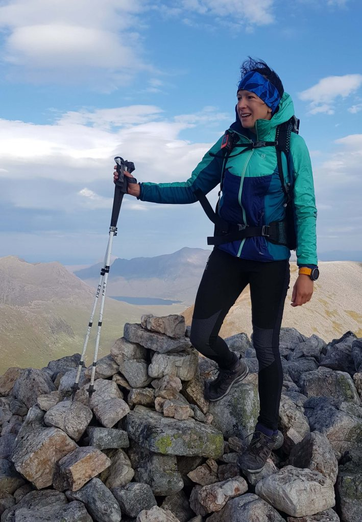 Adventurer Nic on the summit of Mullach Coire Mhic Fhearchair - one of the Munro mountains in the Fisherfield circuit