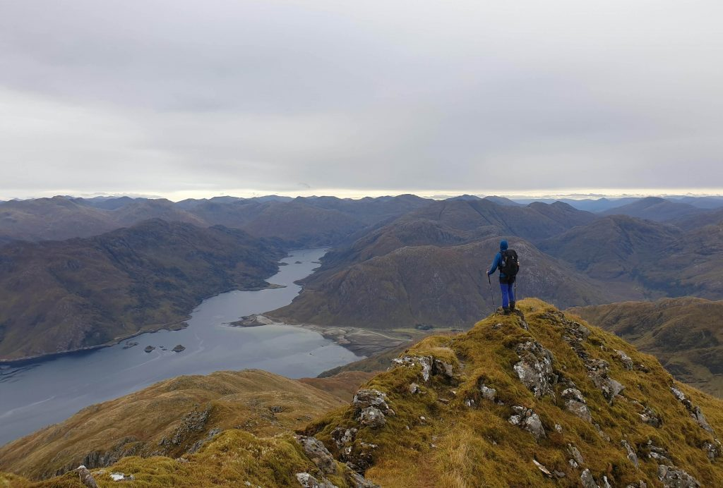 James Forrest on Ladhar Bheinn, overlooking the eastern end of Loch Hourn