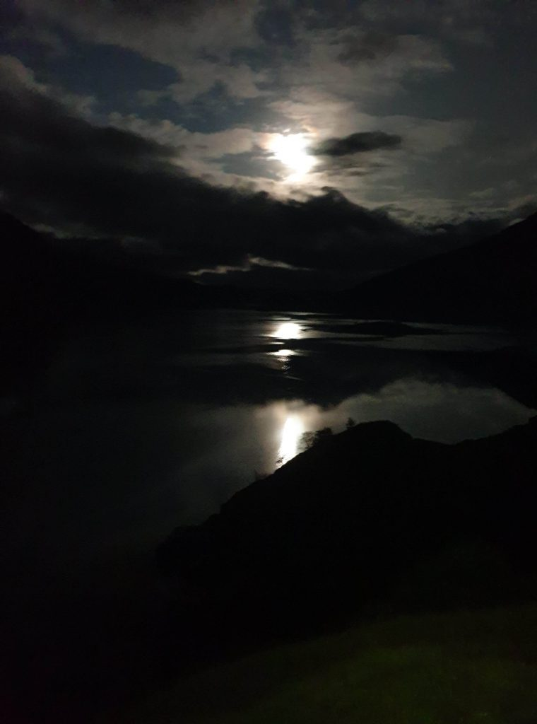 Looking out across Loch Nevis from Sourlies at 5am under the light of the moon
