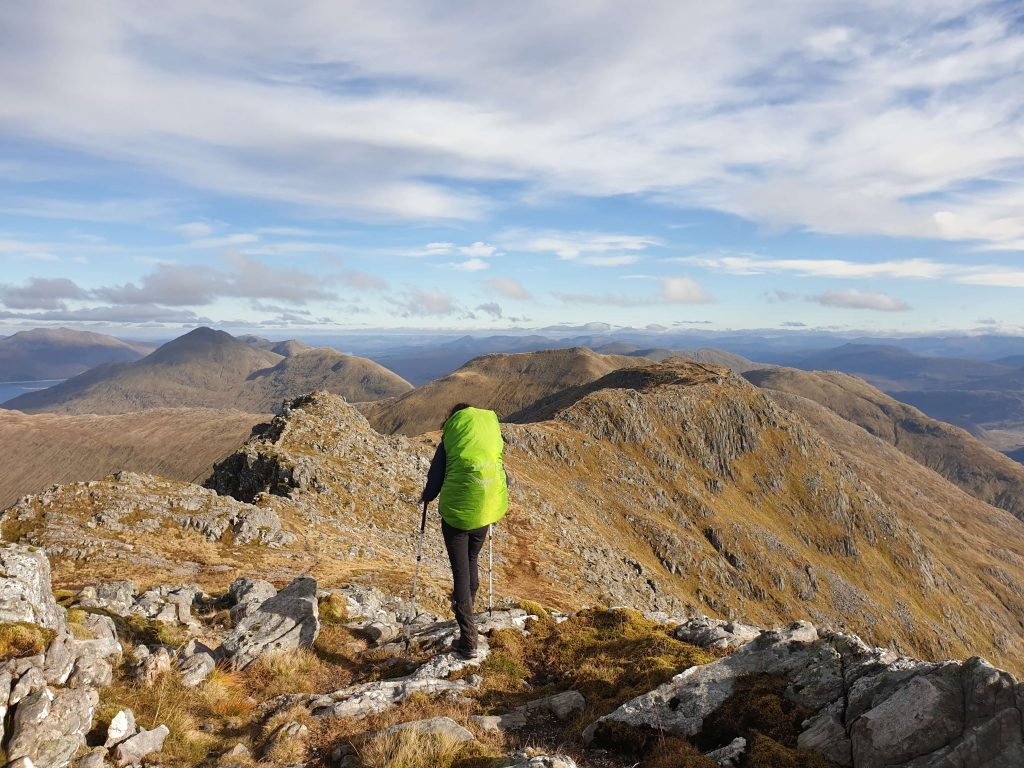 Adventurer Nic descending Garbh Chioch Mhor, the 5th of the Knoydart Munros