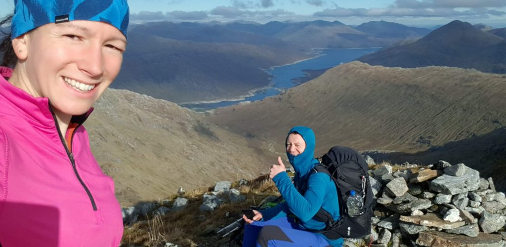 Adventurer Nic and James Forrest on the summit of Garbh Chioch Mhor, our 5th of the Knoydart Munros