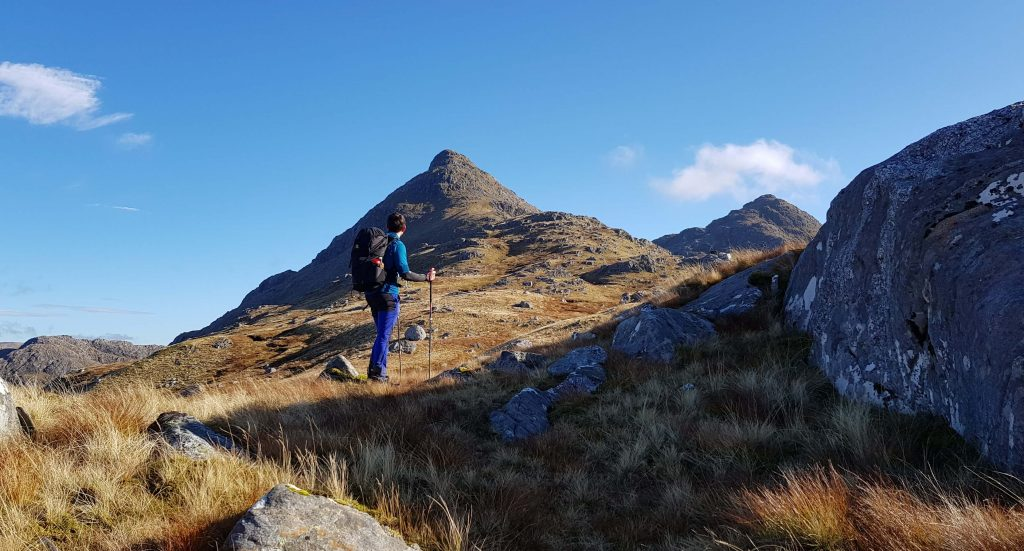 James Forrest looks up at Sgurr na Ciche on the ascent