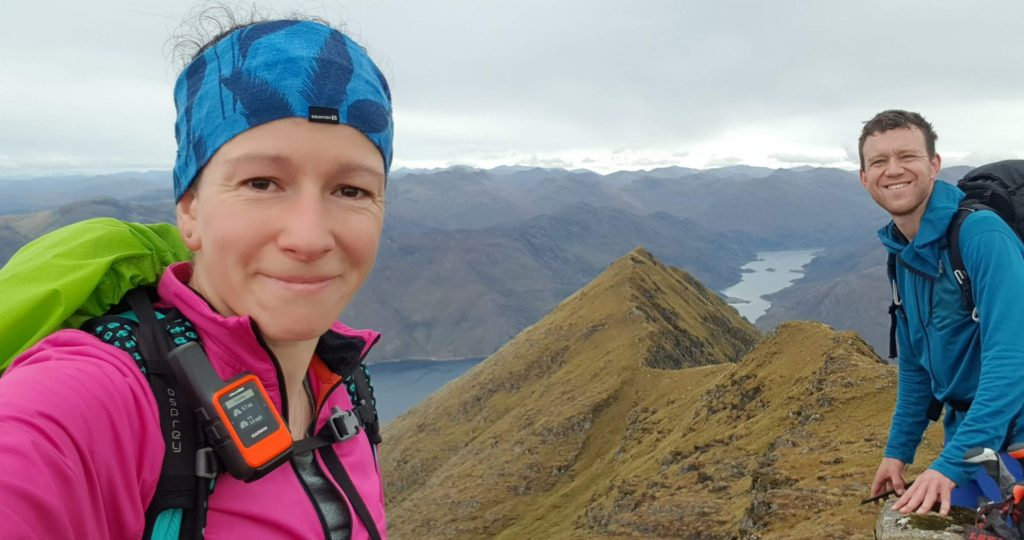 Adventurer Nic and James Forrest on the summit of Ladhar Bheinn - the third of the Knoydart Munros