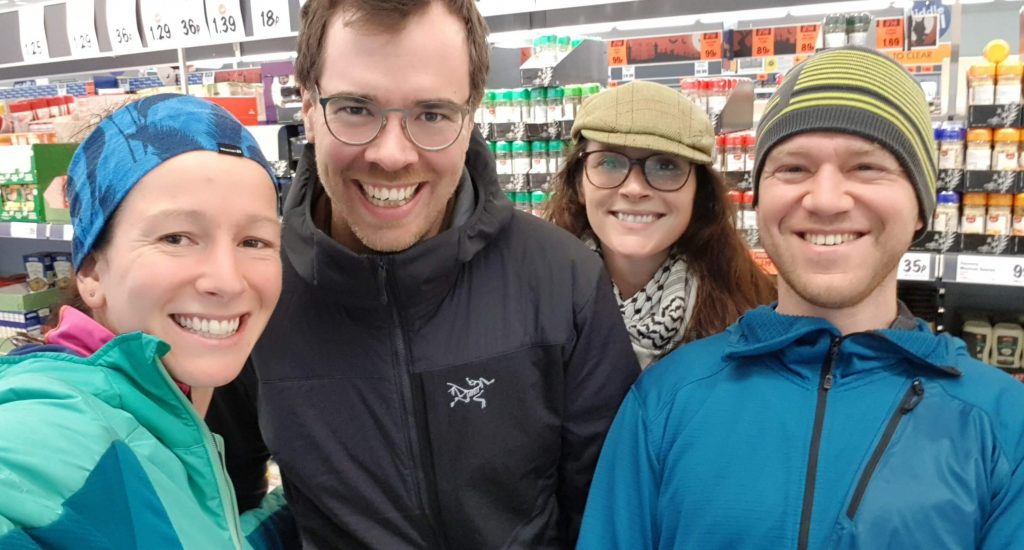 Adventurer Nic, Neil Irwin, Janey McGill and James Forrest - a chance meeting in Lidl Fort William