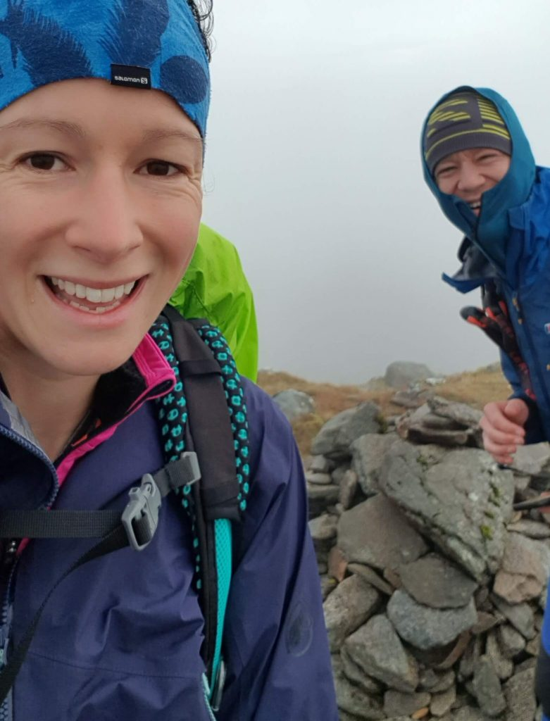 Adventurer Nic and James Forrest on the summit of Meall Buidhe - the first of the Knoydart Munros