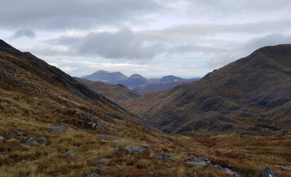 Views to Beinn Sgritheall on the ridge between Meall Buidhe and Luinne Bheinn