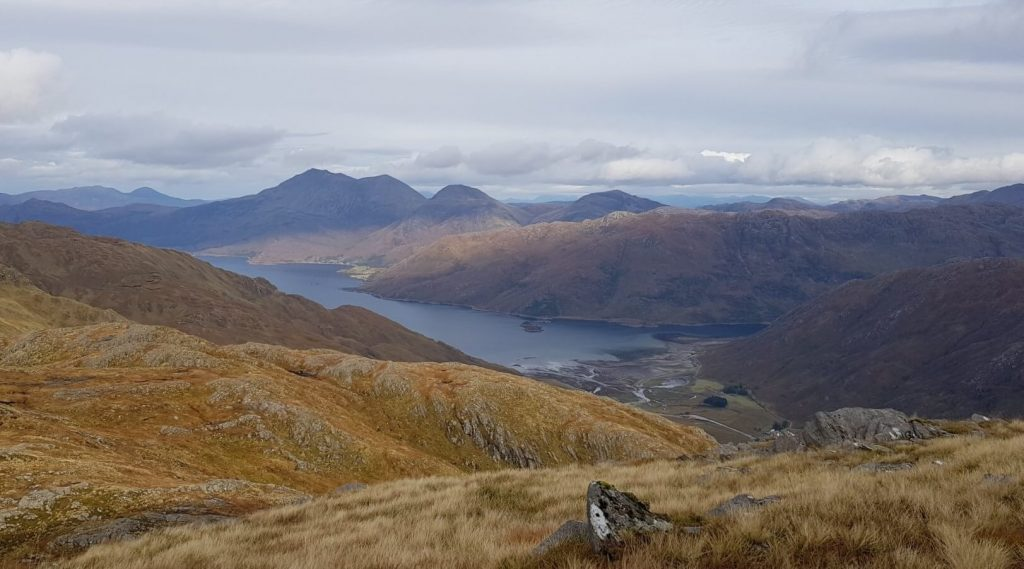 Lunch spot overlooking Loch Hourn with Beinn Sgritheall in the distance
