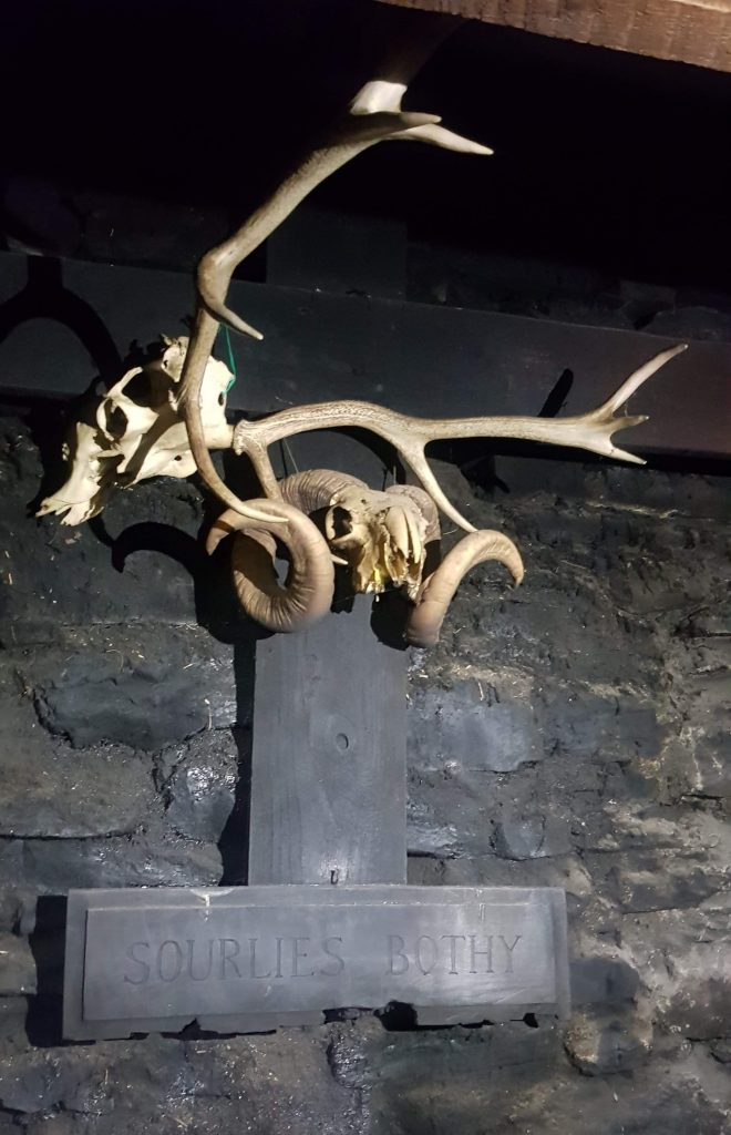 Stag antlers in Sourlies Bothy above the fireplace