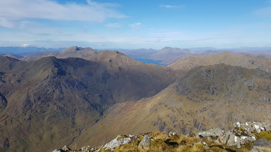 View from the summit of Sgurr na Ciche of the distant Cuillin ridge on the Isle of Skye, Ladhar Bheinn and Beinn Sgritheall