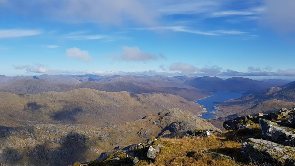 View down to Loch Cuaich from the summit of Sgurr na Ciche, our 4th of the Knoydart Munros