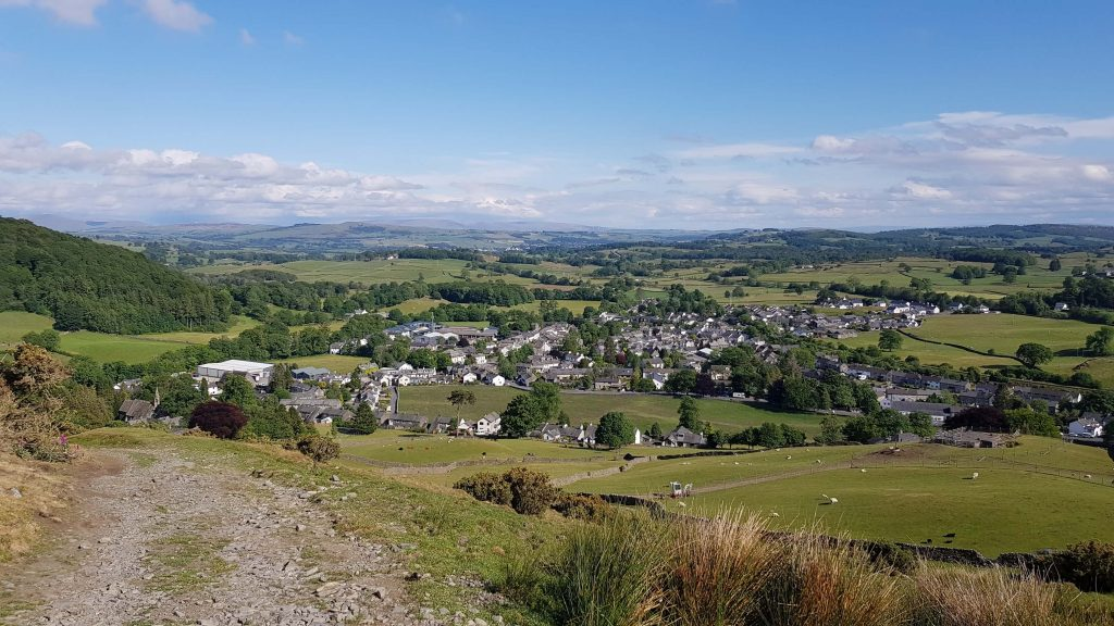 Staveley from the ascent of Reston Scar