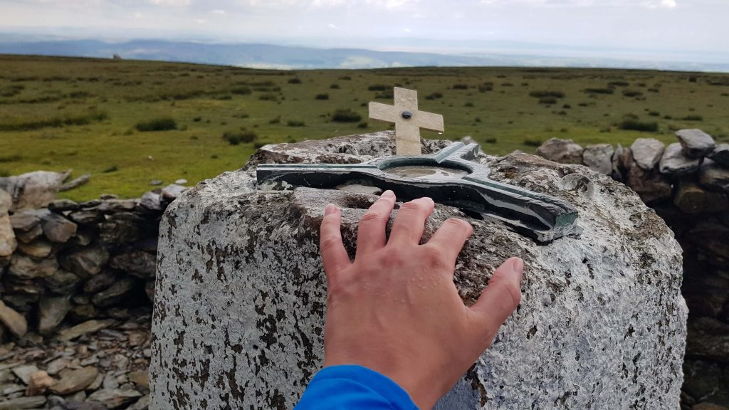 Touching the trig pillar of Black Combe