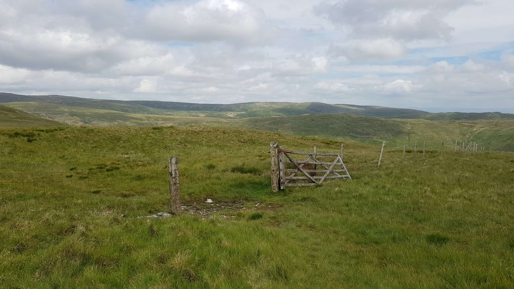 A gate looking a little worse for wear on the descent of Capplebarrow