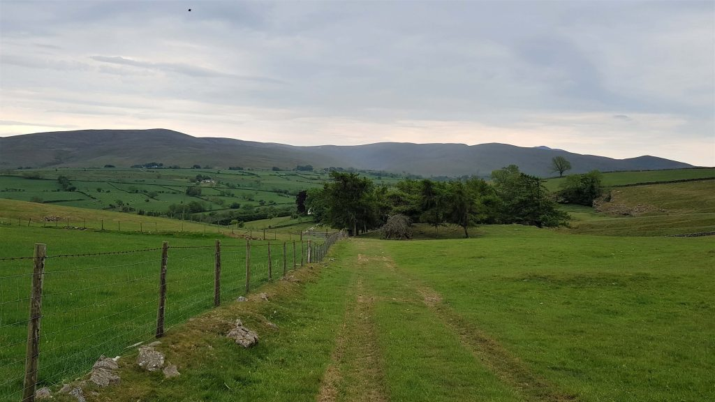 Descending Faulds Brow through farm land