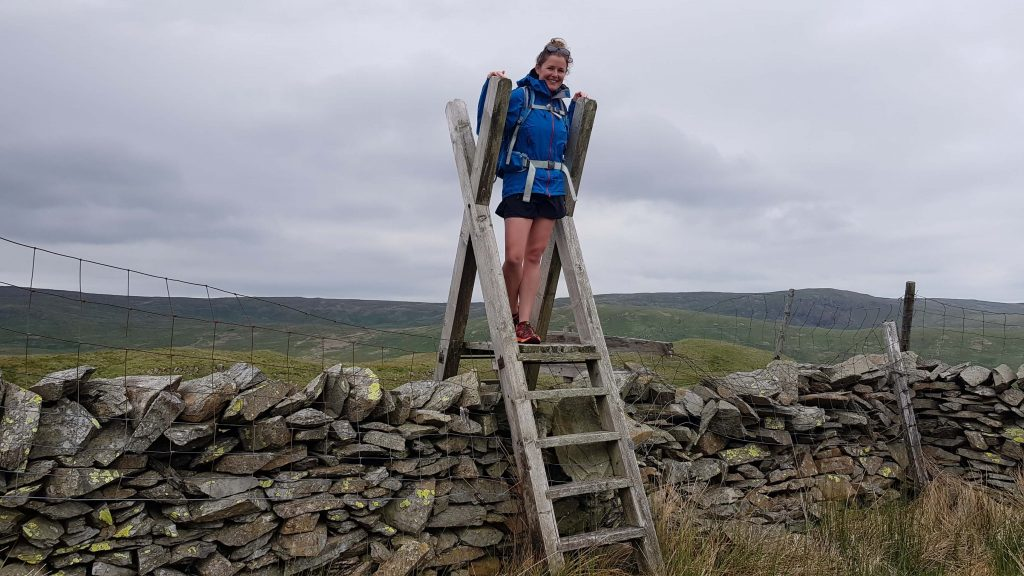 Liz on the ladder stile close to the summit of Long Crag