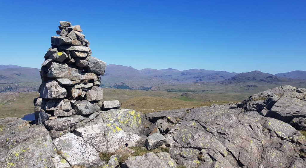Views from the summit of White Pike towards Bowfell