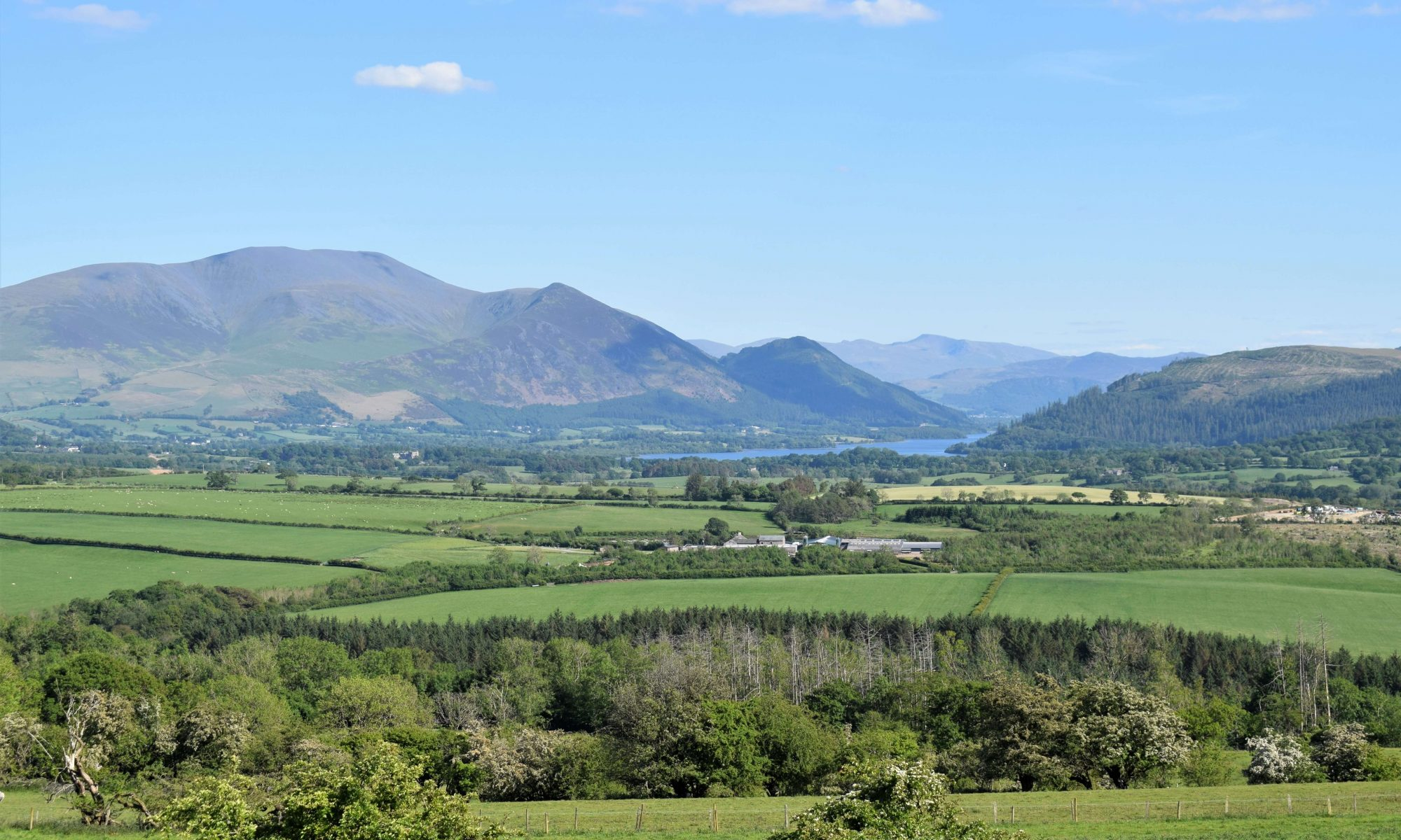 Wonderful views from Clints Crags towards Skiddaw and Bassenthwaite Lake