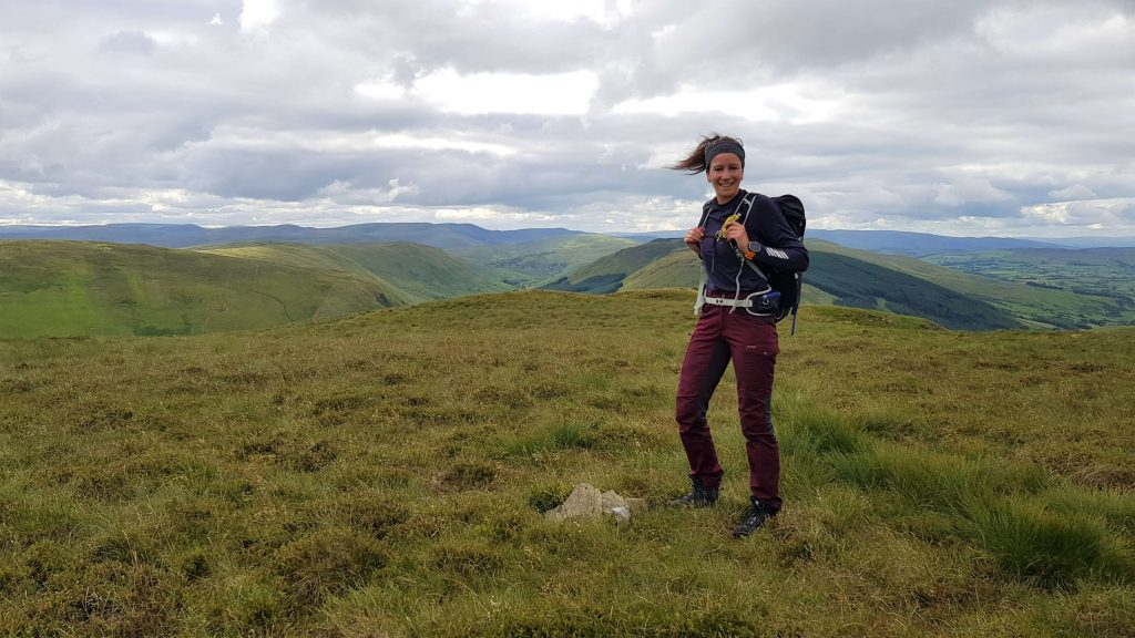 Adventurer Nic on the summit of High House Bank, the first of the Shap Fells we hiked that day in the Lake District
