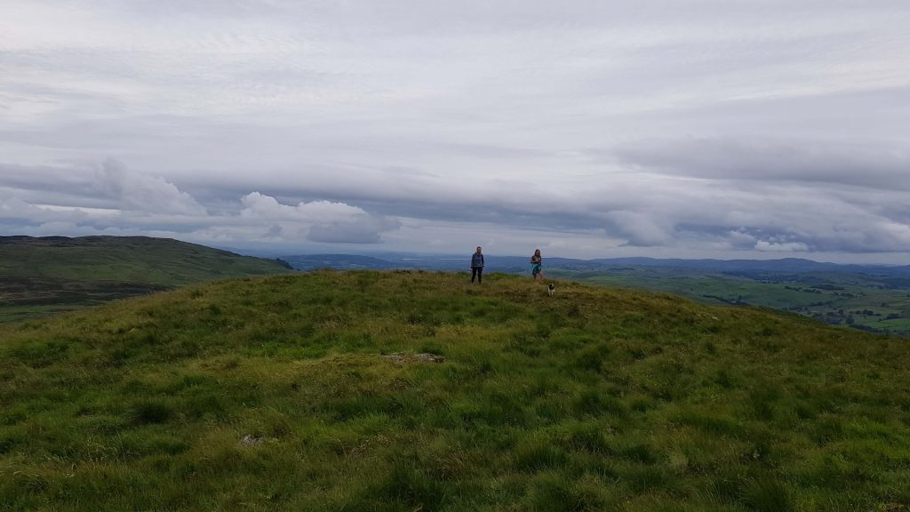 Anna and Laura gain the summit ridge of Hollow Moor, Green Quarter Fell