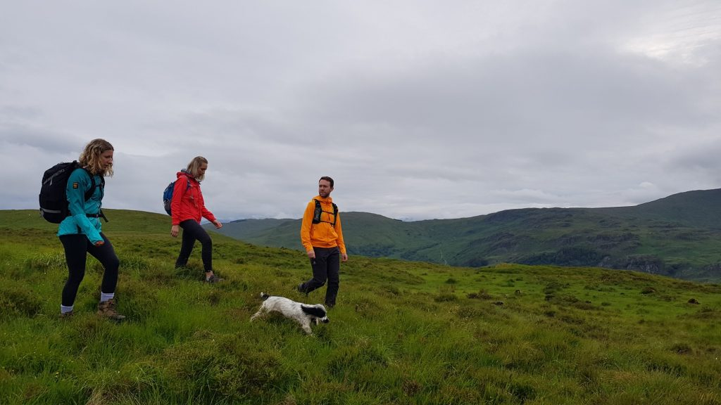 Anna, Aggie and James start the descent into Kentmere