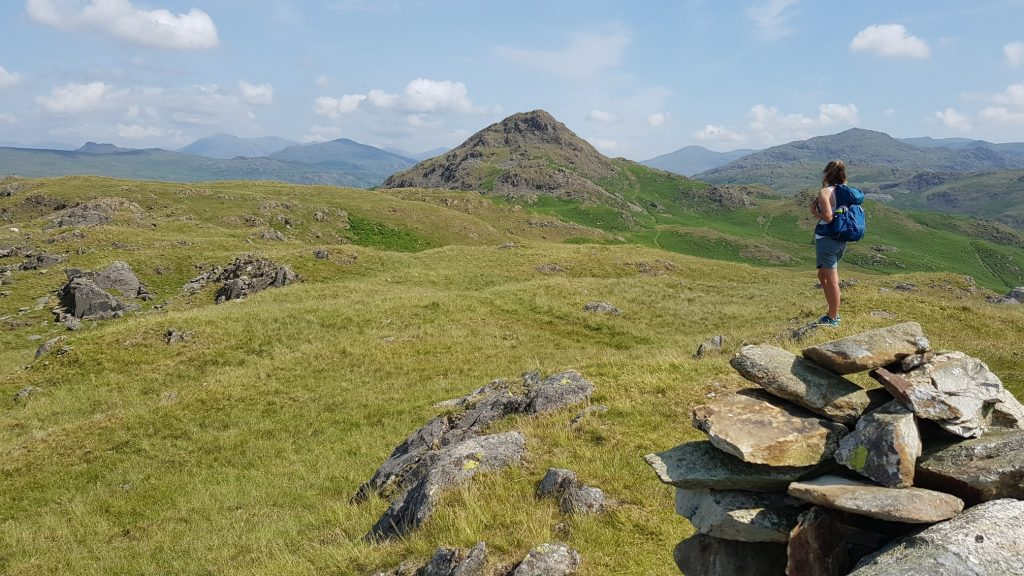 Laura looking from Tarn Hill towards Stickle Pike