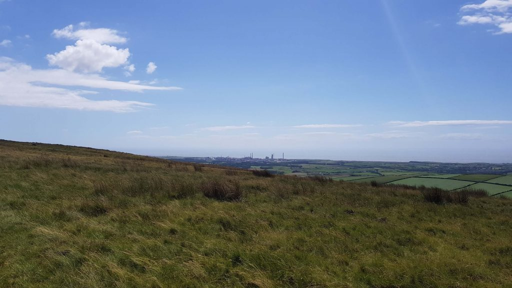View to Sellafield power station from the ascent of Cold Fell