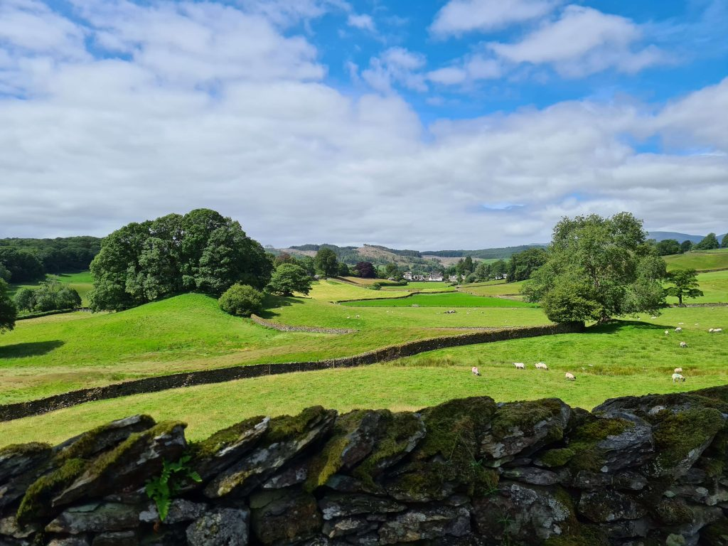 View over the dry stone wall to beautiful English countryside