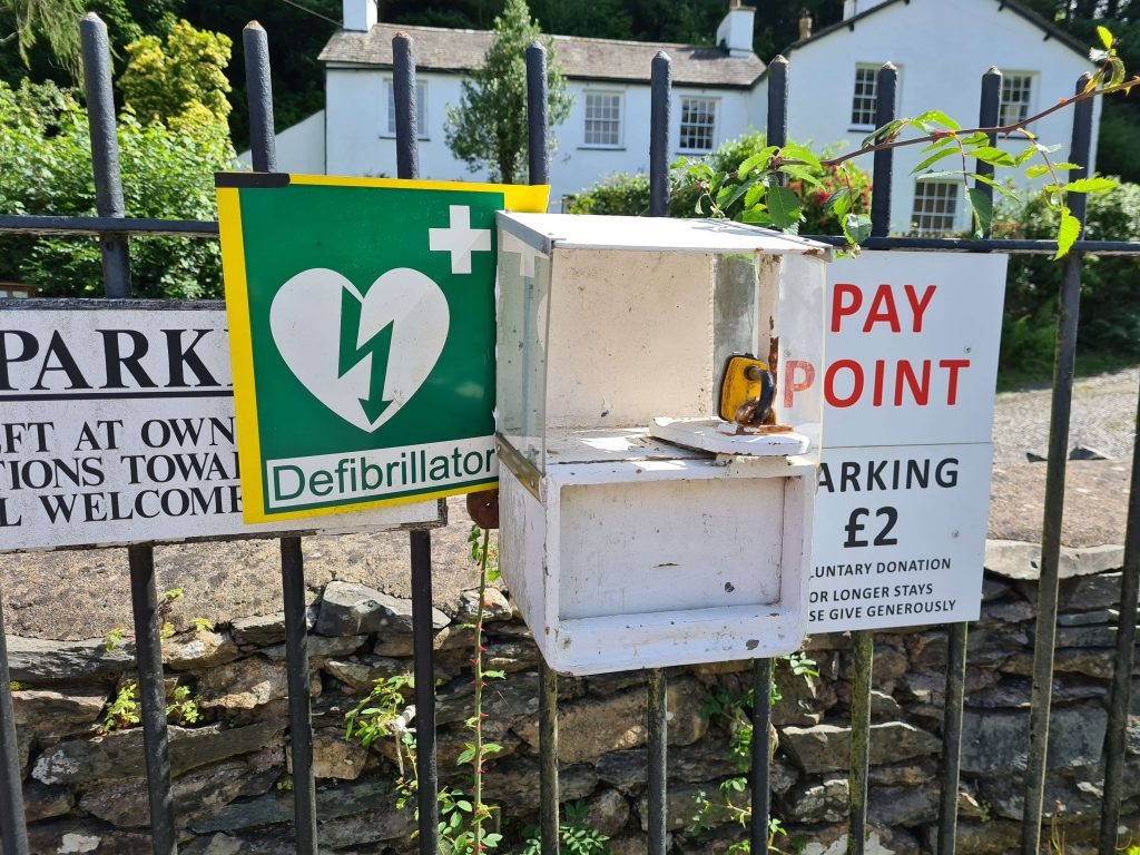 Donation point for the car park at Braithwaite Hall in Far Sawrey