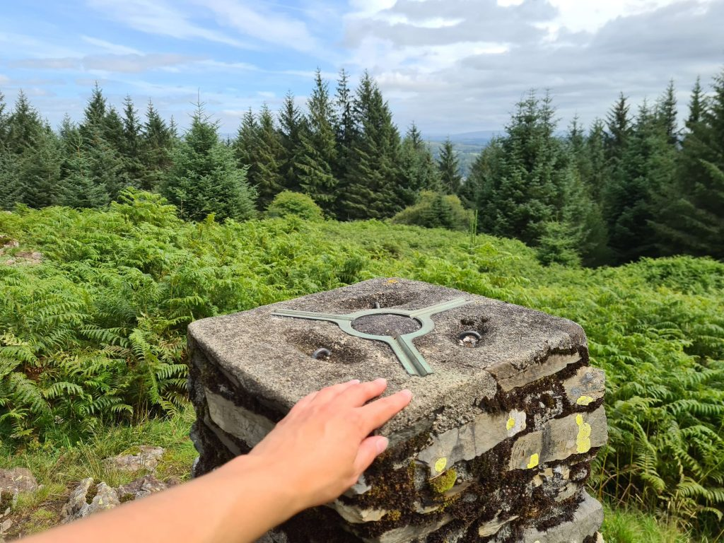 Touching the summit trig point of Claife Heights (High Blind How)