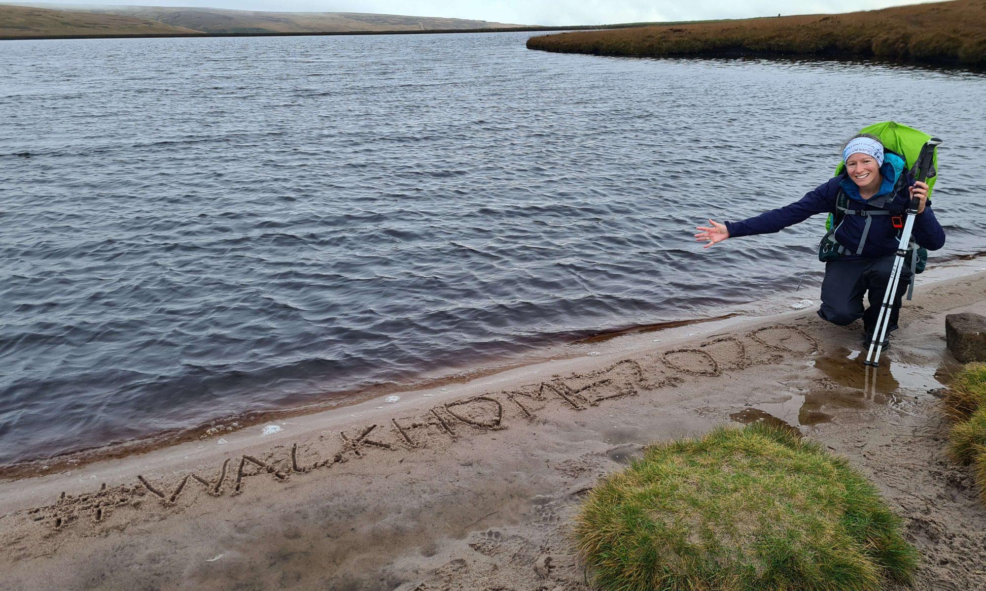Adventurer Nic on a small beach on Black Moss Reservoir #WalkHome2020