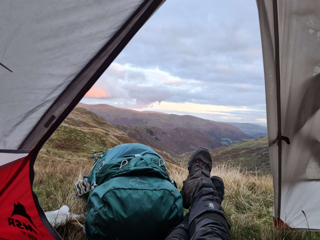 Tent views during a Wild Camp in the central fells of the Lake District during Walk Home 2020