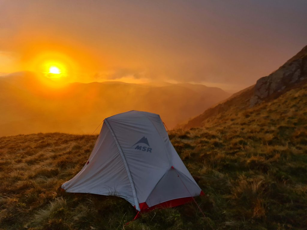 A sunset during a wild camp on the Walk Home 2020 section through the north western Lake District