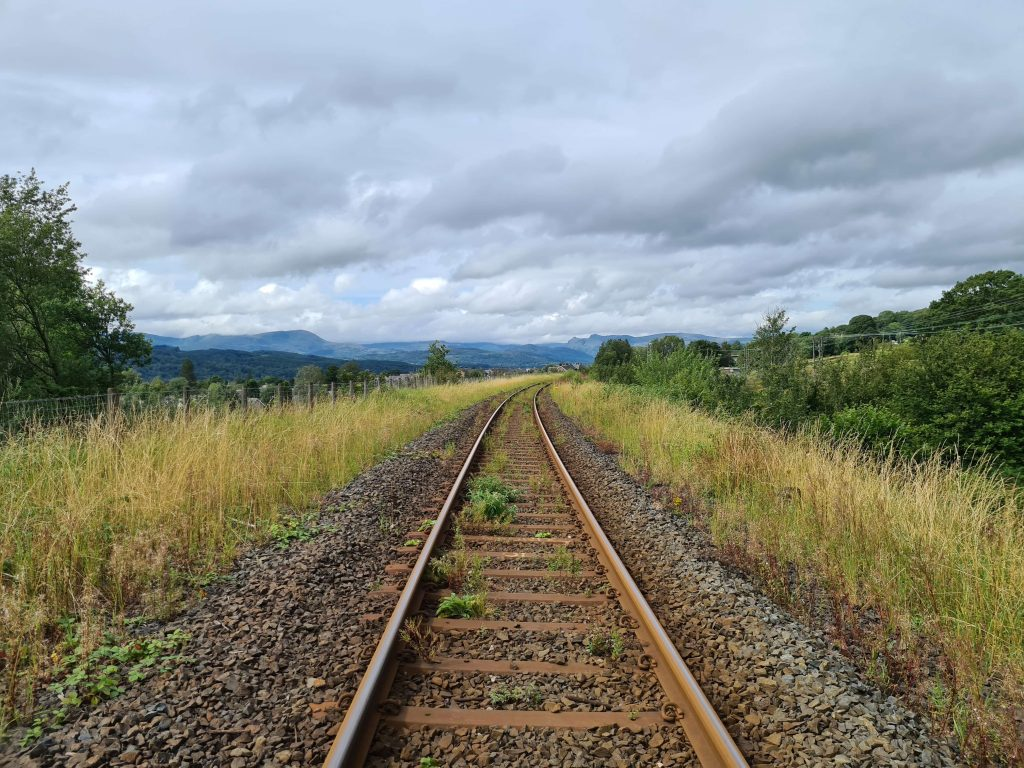 Crossing the railway line at east Windermere