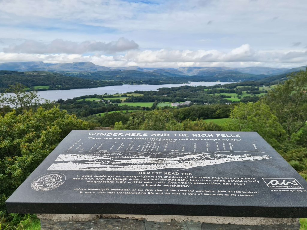 The Wainwright Society plaque on Orrest Head