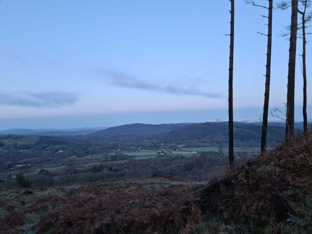 View towards Finsthwaite Heights at blue hour