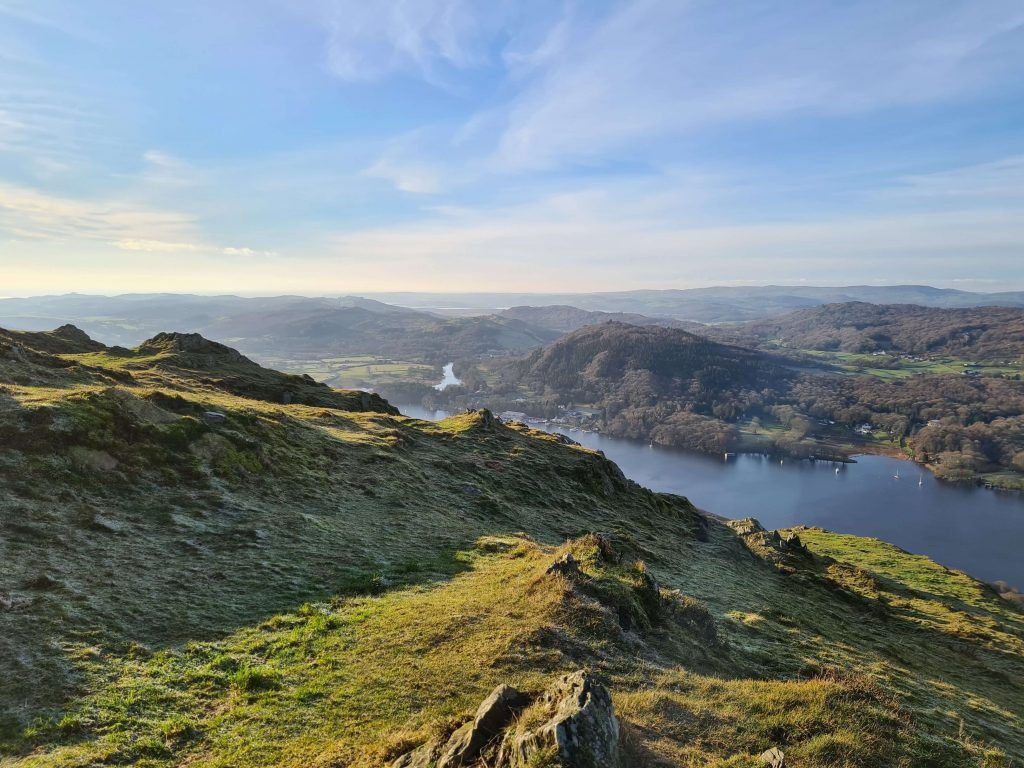 Lunchtime views over Lake Windermere from Gummer's How