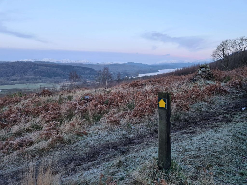 Fingerpost with Windermere in the background